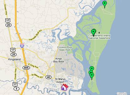 Cumberland Island Map Area Maps « Spencer House Inn, St Mary's GA